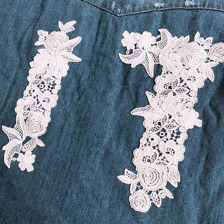 ホワイトレースロングデニムシャツ CQ-37026