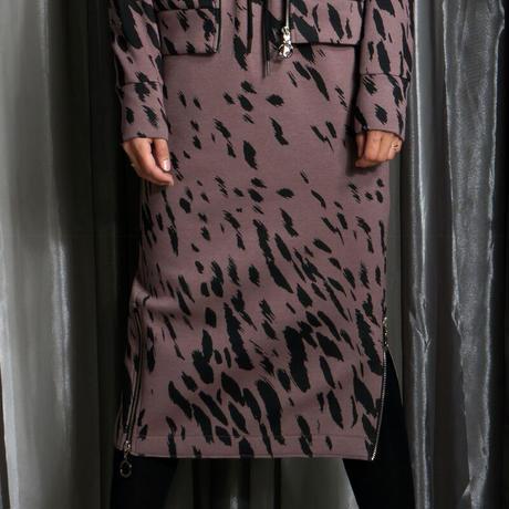 COOLA レオパードプリントサイドジップミディスカート CQ-37072