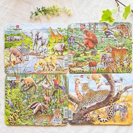 LARSENパズル ミニ4枚セット 外来の動物(11P)