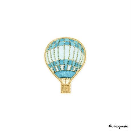 Ecusson « Montgolfière »Rayures turquoise/Doré    Ecusson à thermocoller 50 x 36 mm