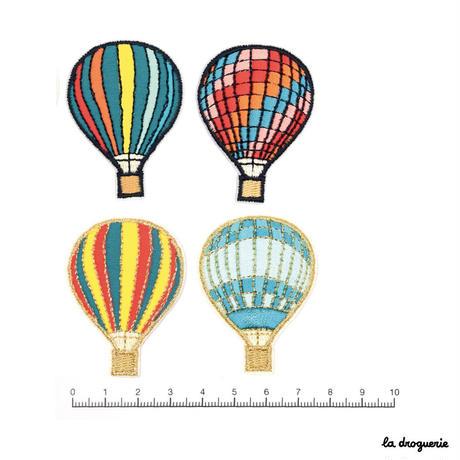 Ecusson « Montgolfière »Rayures multico/Doré | Ecusson à thermocoller 50 x 36 mm