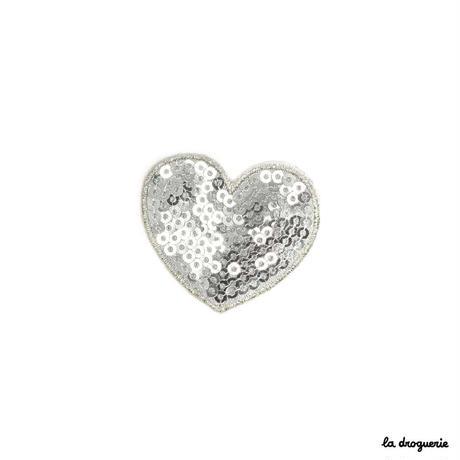 Ecusson « Pailleté coeur »Argenté   Ecusson à thermocoller 40 mm