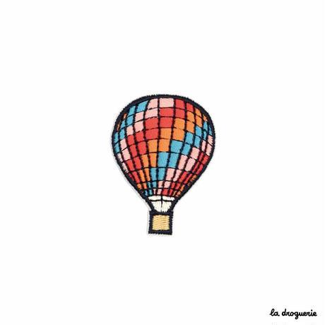 Ecusson « Montgolfière » Carreaux multico| Ecusson à thermocoller 50 x 36 mm