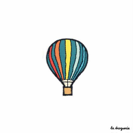 Ecusson « Montgolfière » Rayures multico| Ecusson à thermocoller 50 x 36 mm