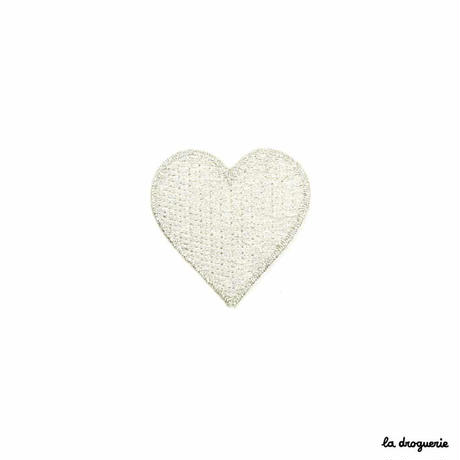 Ecusson « Dame de coeur »Argenté | Ecusson à thermocoller 35 mm