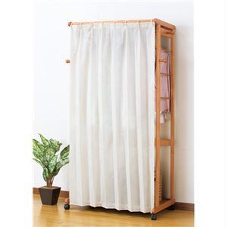 天然木カーテン付きシングルハンガー 110cm幅【代引不可】