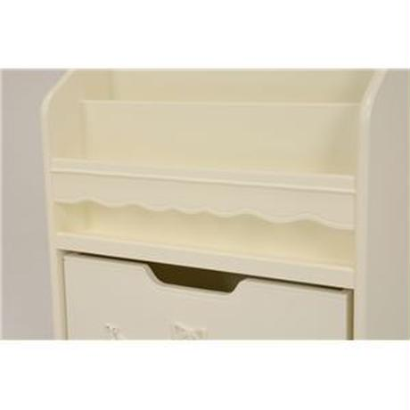 絵本ラック(ブックスタンド/子供部屋家具) 幅60cm 木製 引き出し収納付き ホワイト(白) 【代引不可】