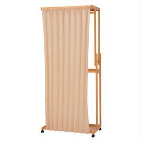 カーテン付きハンガーラック/衣類収納 【幅90cm/ナチュラル】 木製 収納棚/キャスター付き 【代引不可】