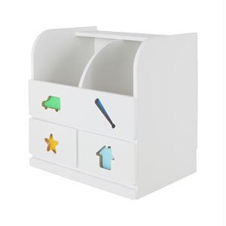 子供用 収納棚/玩具収納 【男の子用】 幅59.0cm 日本製 引き出し付き 耐久性 『おかたづけしたくなるおもちゃ箱』 【完成品】【代引不可】
