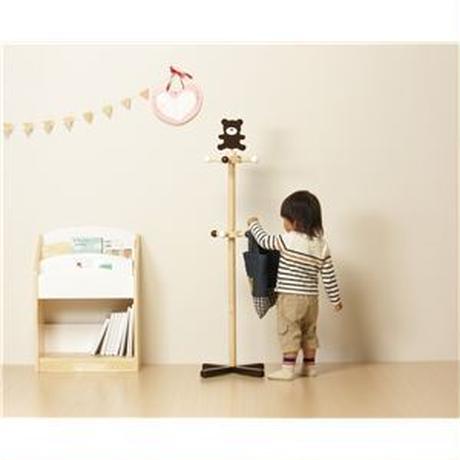 子供用 コートハンガー/ポールハンガー 【くま】 幅400mm 木製 『アニマルキッズハンガー』 〔リビング ベッドルーム〕 組立品【代引不可】