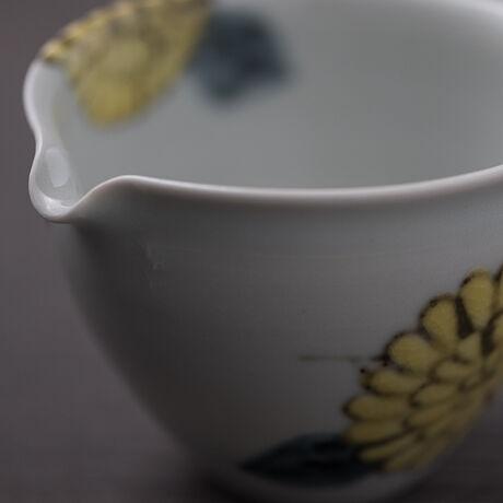 片口色絵 菊  (黄)