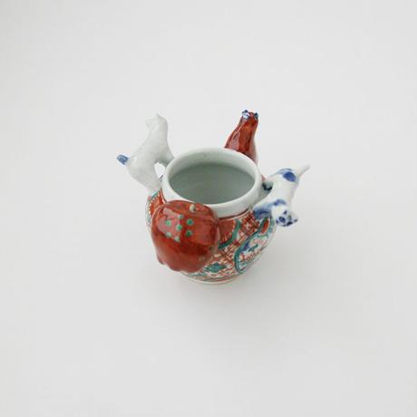 田辺京子 ニャンコ赤絵呉須壺
