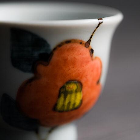 ぐい呑み色絵 椿