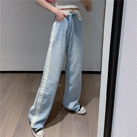 white line denim pants