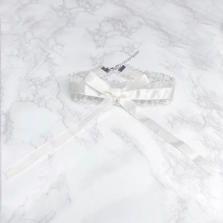 ロングリボンチョーカー/white
