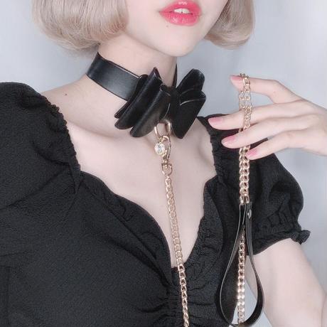 レザーリボンチョーカー /  black&black 【goldリード付き】