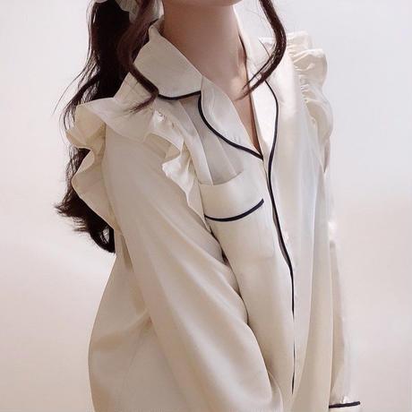 フリルサテンパジャマ / ivory【かわいいレディースルームウェア上下セット】