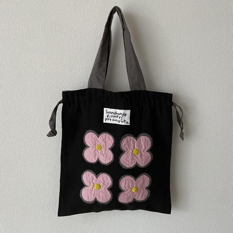 pot and tea 4つのお花の巾着BAG  ブラック×グレー