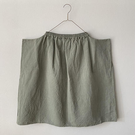 homspun 綿麻ツイル サイドポケットギャザースカート Sサイズ(着丈68cm) グリーン