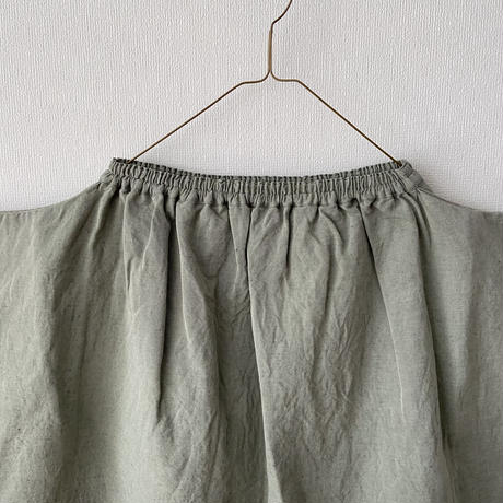 homspun 綿麻ツイルギャザースカート Mサイズ(着丈76cm) グリーン