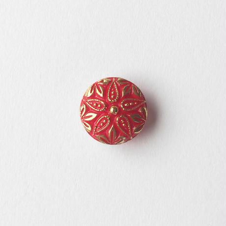 VINTAGE RED & GOLD GLASS BUTTON