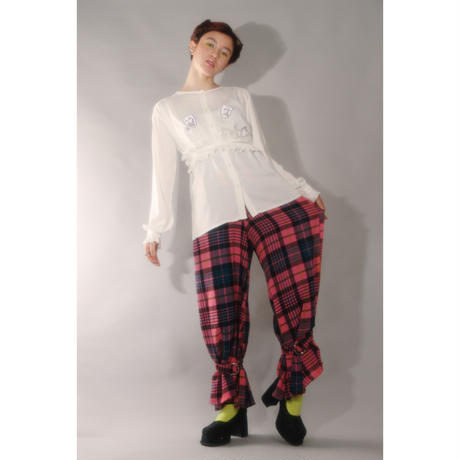 CHECK CLOWN WIDE PANTS (pink)