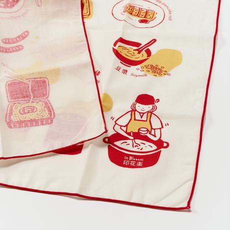 """inblooom"" ハンカチ Breakfast in Taiwan/RED"