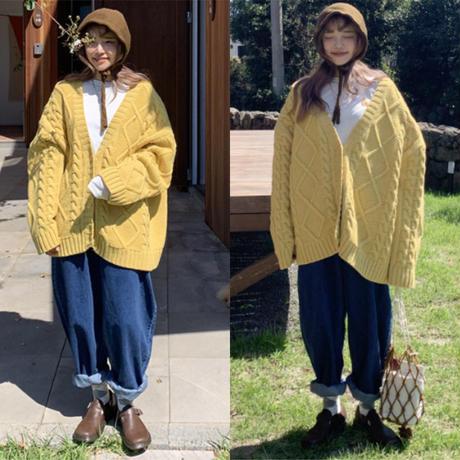 セーター ニット カーディガン アウター レディース ビッグシルエット オーバーサイズ ゆったり 大きいサイズ 黄色 コート ガーリー 森ガール 無地 ダイヤ柄 網目模様