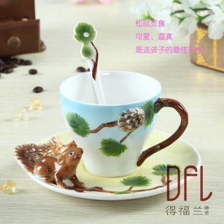 3d リス エナメルコーヒーカップ カップルのコーヒーティーカップ