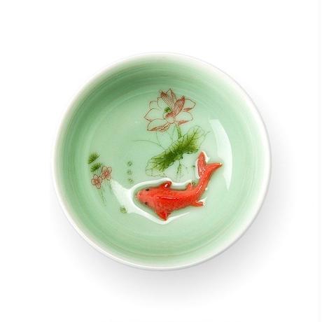 中国 茶カップ 磁器 青磁魚 ティーカップ スプーンセラミック セラミックカップ ギフト