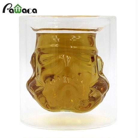 ダブル壁 レリーフ彫 スターウォーズ ウイスキーワイングラス ビールガラス 耐熱 コーヒーマグ
