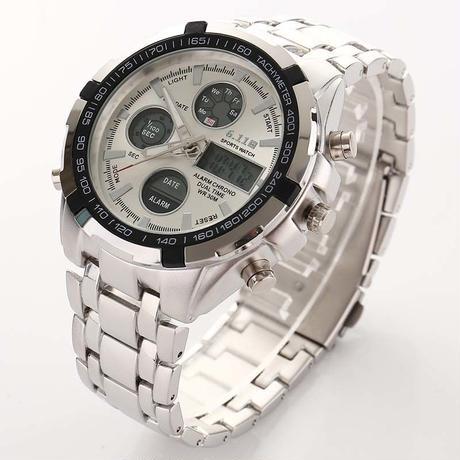 メンズ腕時計 海外インポートブランド LEDデジタル腕時計 防水 ステンレス カジュアル メンズクォーツ