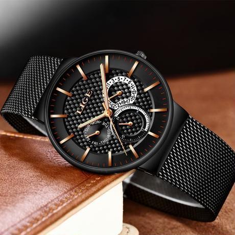 Lige メンズ腕時計 カジュアルスリムメッシュ 防水 スポーツ腕時計