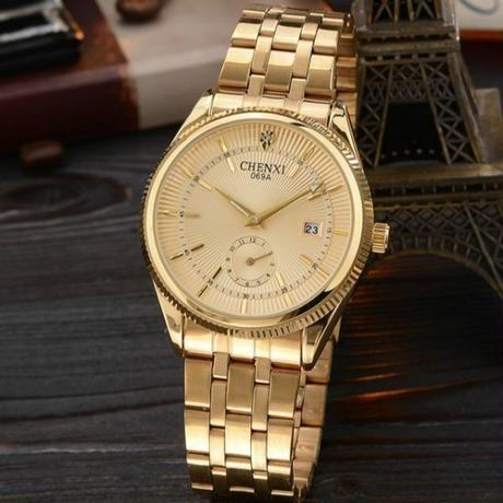 ゴールド メンズ腕時計 高級トップブランド ゴールデン クォーツ腕時計 海外人気ブランド【新品】