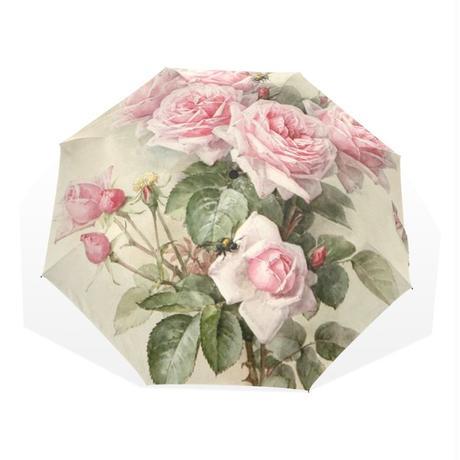 ヴィンテージ 花 女性の雨傘 ピンクローズ 折りたたみ傘 女の子