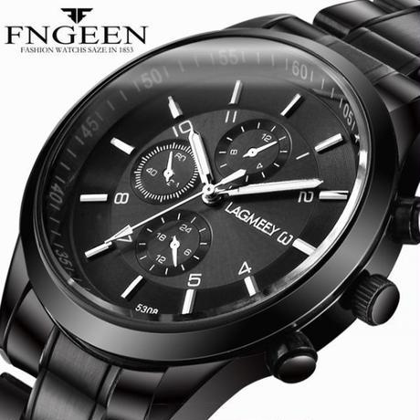Ochstin クロノグラフ メンズ腕時計 カジュアル トップブランド 高級クォーツ腕時計 ブルー ミリタリー