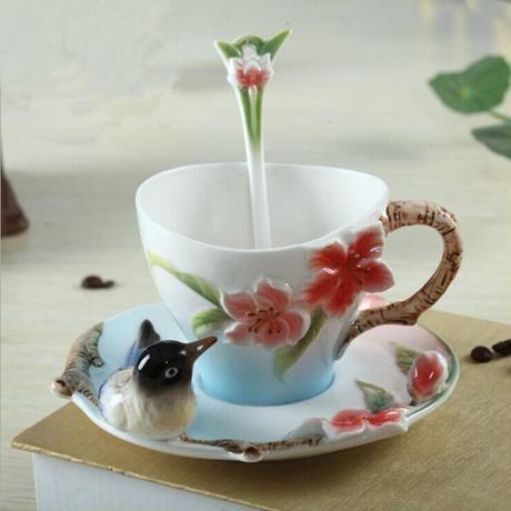 コーヒーカップ カササギ エナメル磁器 コーヒーカップ 結婚祝いセット 結婚誕生日 プレゼント