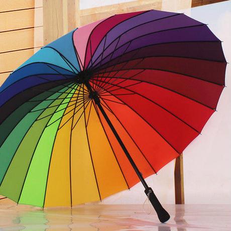 傘 レインボー傘 雨 女性 男性 ハンドル傘