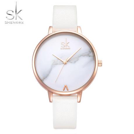 Shengke トップブランド ファッションレディース腕時計 レザー女性クォーツ時計 カジュアルストラップ時計