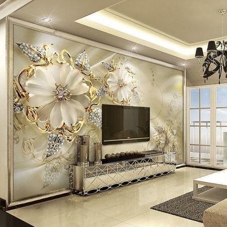 カスタム 3D壁画壁紙 ヨーロッパスタイル ダイヤモンドジュエリー 黄金の花の背景 リビングルーム