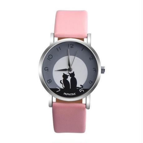 かわいい猫 女性腕時計 フェイクレザーアナログクォーツ腕時計 レディースガールカジュアルスポーツ腕時計