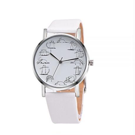 Xiniu レトロスタイル 漫画猫レザークォーツアナログ女性腕時計 カジュアルレディース腕時計