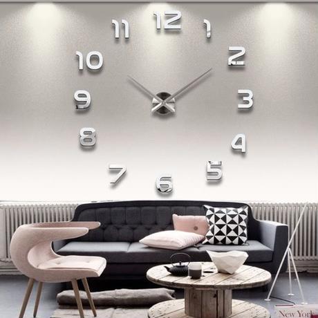 壁時計 大時計 3D DIYアクリルミラーステッカーQuartz リビングルーム