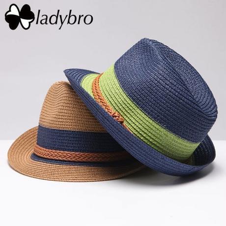Ladybro 男女兼用 麦わら帽子 ビーチ カジュアル パナマ帽子 バイザーキャップ