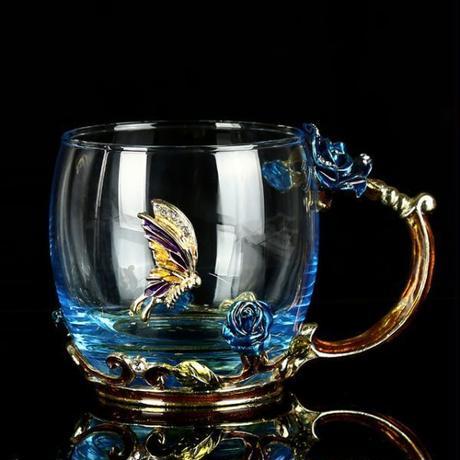 ティーカップガラス エナメル 高級ヴィンテージコーヒーカップ クリスタルワイン 金属彫刻 ギフト