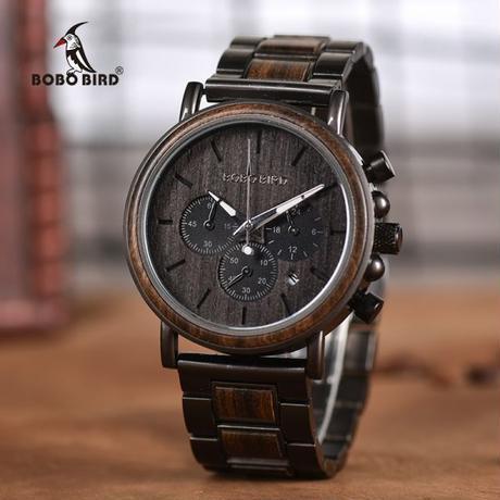 ボボ鳥 クロノグラフメンズ腕時計 木製高級ステンレス鋼クォーツ腕時計
