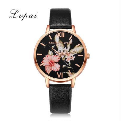 Xiniu puレザーバンド ドレス腕時計 カジュアル花柄クォーツ腕時計