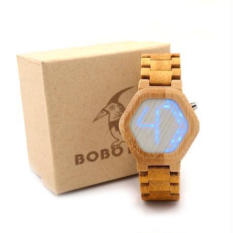 ボボ鳥 LED 竹ウッド腕時計 デジタル腕時計 メンズ 男性用