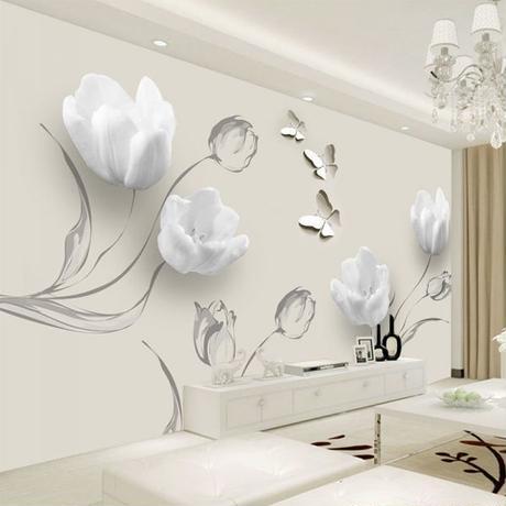 カスタム 壁画 壁紙 3D ステレオ チューリップ 蝶花 絵画 リビングルーム
