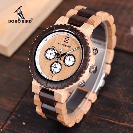 ボボ鳥 高級木製腕時計 メンズ クロノグラフ ミリタリークォーツ腕時計 男性 ギフト